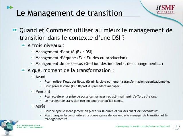 Le Management de transition Quand et Comment utiliser au mieux le management de transition dans le contexte d'une DSI ? A ...