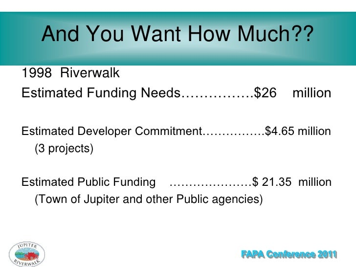 And You Want How Much??1998 RiverwalkEstimated Funding Needs…………….$26            millionEstimated Developer Commitment…………...