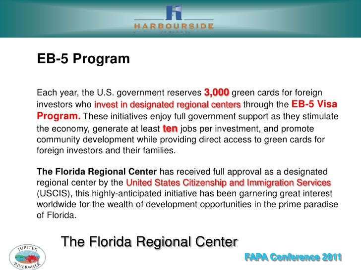 EB-5 ProgramEach year, the U.S. government reserves 3,000 green cards for foreigninvestors who invest in designated region...