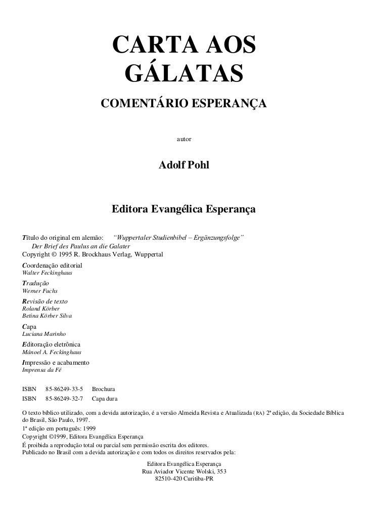 CARTA AOS                                     GÁLATAS                               COMENTÁRIO ESPERANÇA                  ...