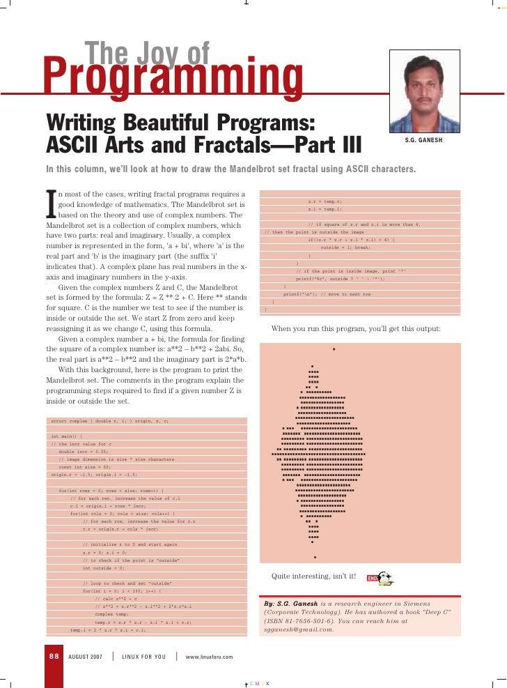 The Joy of Programming Writing Beautiful Programs:                                                                        ...