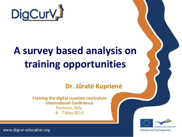 A survey based analysis ontraining opportunitiesDr. Jūratė KuprienėFraming the digital curation curriculumInternational Co...