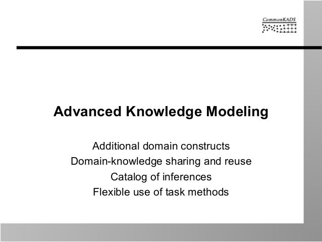 Advanced Knowledge Modeling Additional domain constructs Domain-knowledge sharing and reuse Catalog of inferences Flexible...