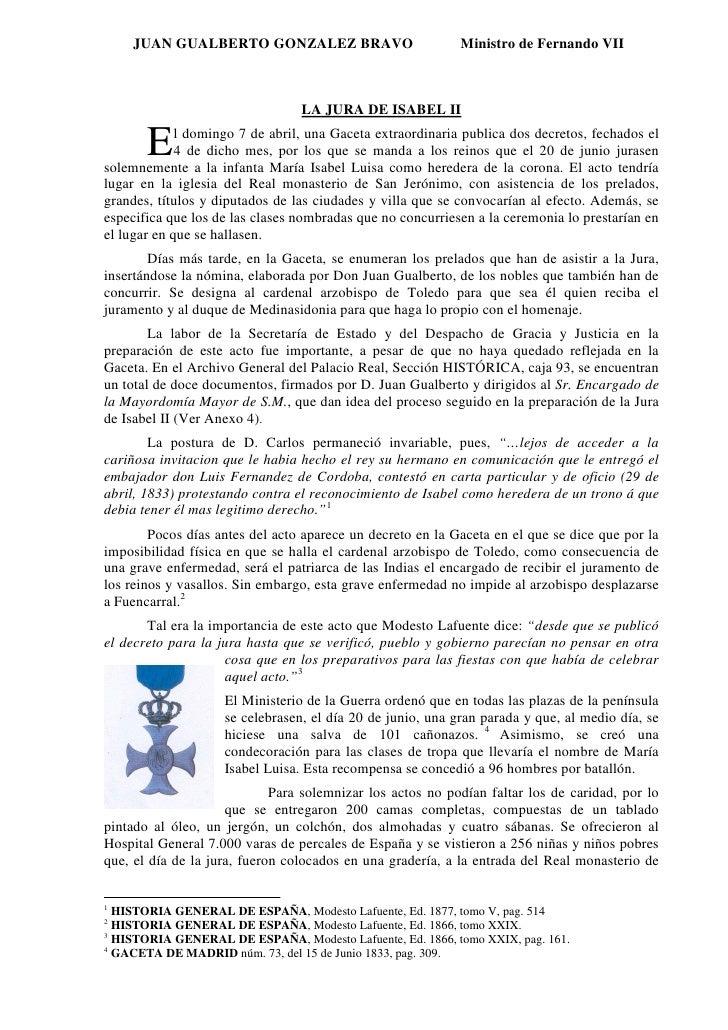 JUAN GUALBERTO GONZALEZ BRAVO                           Ministro de Fernando VII                                     LA JU...