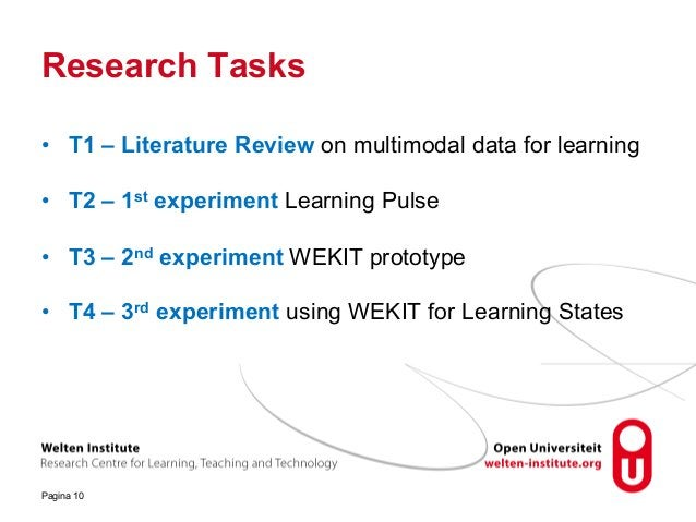Research Tasks Pagina 10 • T1 – Literature Review on multimodal data for learning • T2 – 1st experiment Learning Pulse • T...