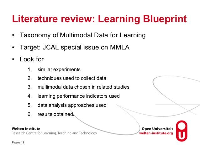 Literature review: Learning Blueprint • Taxonomy of Multimodal Data for Learning • Target: JCAL special issue on MMLA • Lo...