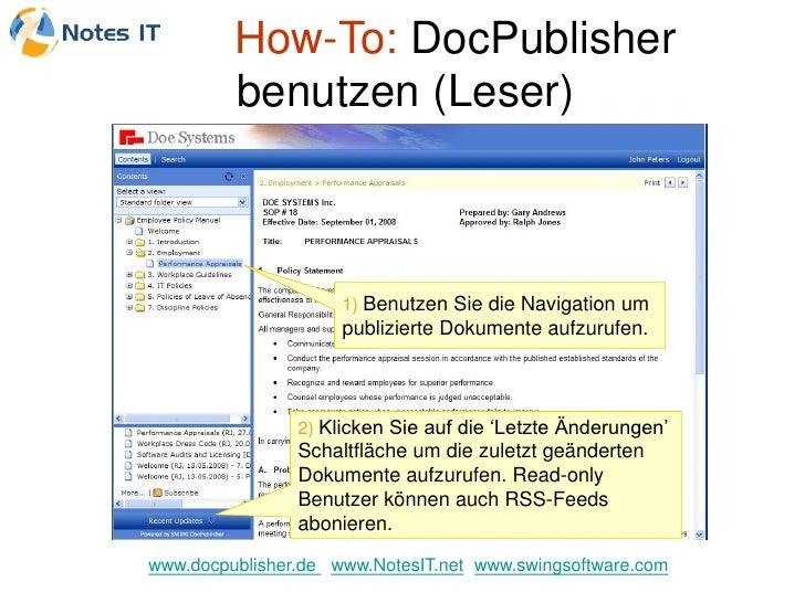 How-To: DocPublisher          benutzen (Leser)                         1) Benutzen Sie die Navigation um                  ...