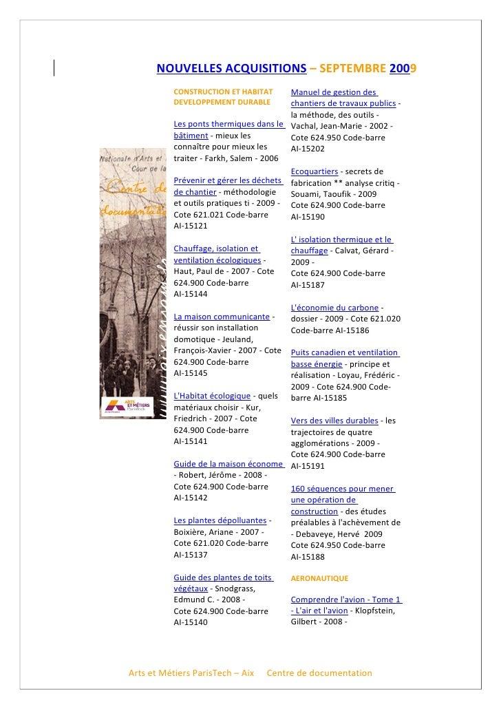NOUVELLES ACQUISITIONS – SEPTEMBRE 2009            CONSTRUCTION ET HABITAT         Manuel de gestion des            DEVELO...