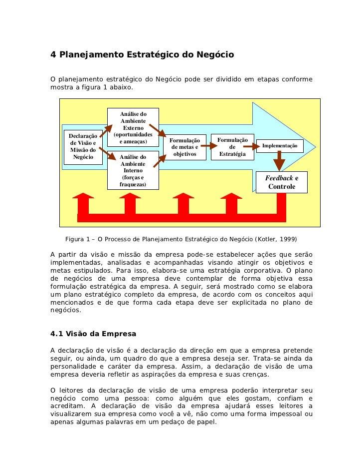 4 Planejamento Estratégico do NegócioO planejamento estratégico do Negócio pode ser dividido em etapas conformemostra a fi...