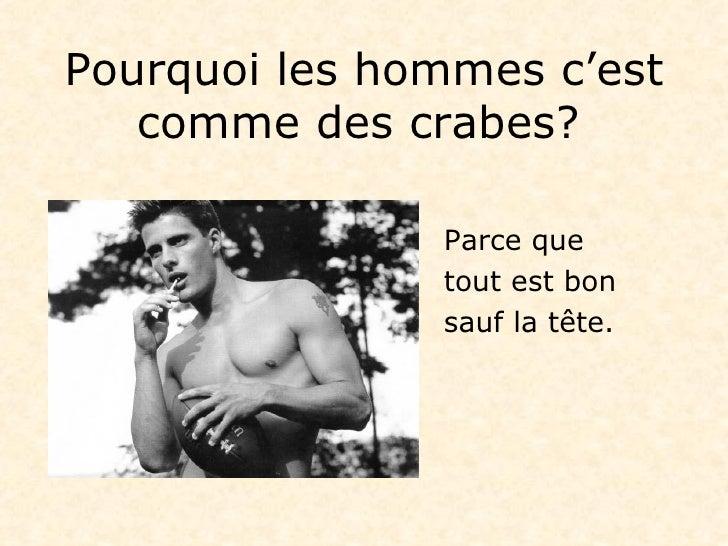 Pourquoi les hommes c'est comme des crabes ?   <ul><li>Parce que   </li></ul><ul><li>tout est bon   </li></ul><ul><li>sauf...