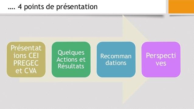 …. 4 points de présentation Présentat ions CEI PREGEC et CVA Quelques Actions et Résultats Recomman dations Perspecti ves