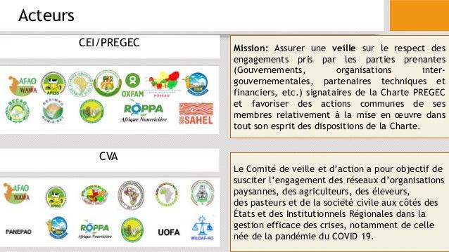 Acteurs CEI/PREGEC CVA Mission: Assurer une veille sur le respect des engagements pris par les parties prenantes (Gouverne...