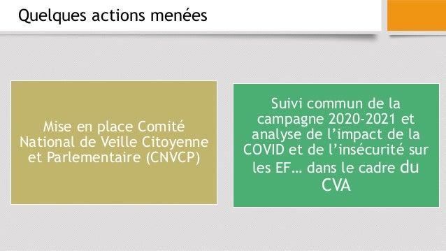 Quelques actions menées Mise en place Comité National de Veille Citoyenne et Parlementaire (CNVCP) Suivi commun de la camp...