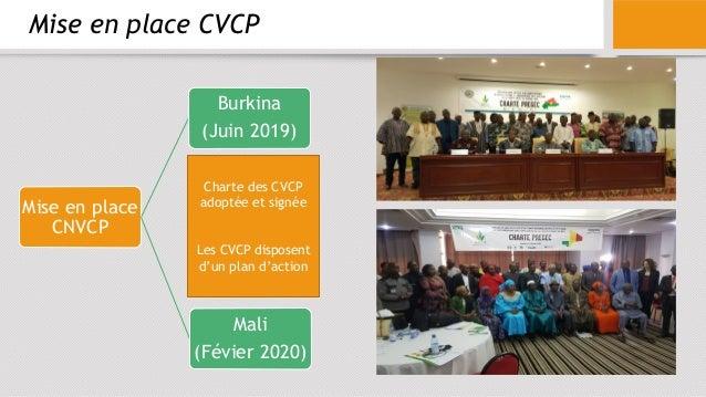 Mise en place CVCP Mise en place CNVCP Burkina (Juin 2019) Mali (Févier 2020) Charte des CVCP adoptée et signée Les CVCP d...