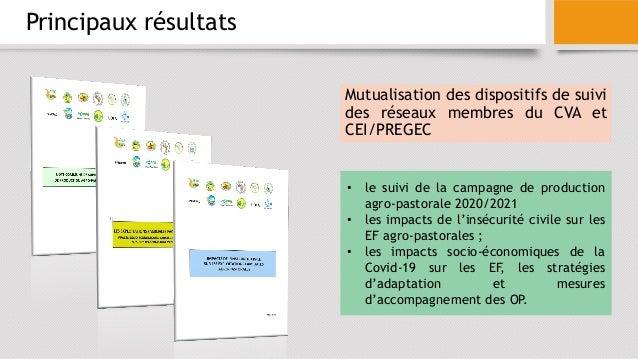 Principaux résultats Mutualisation des dispositifs de suivi des réseaux membres du CVA et CEI/PREGEC • le suivi de la camp...
