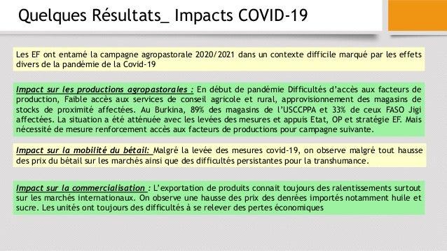 Quelques Résultats_ Impacts COVID-19 Impact sur les productions agropastorales : En début de pandémie Difficultés d'accès ...