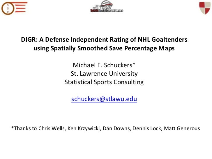DIGR: A Defense Independent Rating of NHL Goaltenders using Spatially Smoothed Save Percentage Maps Michael E. Schuckers* ...