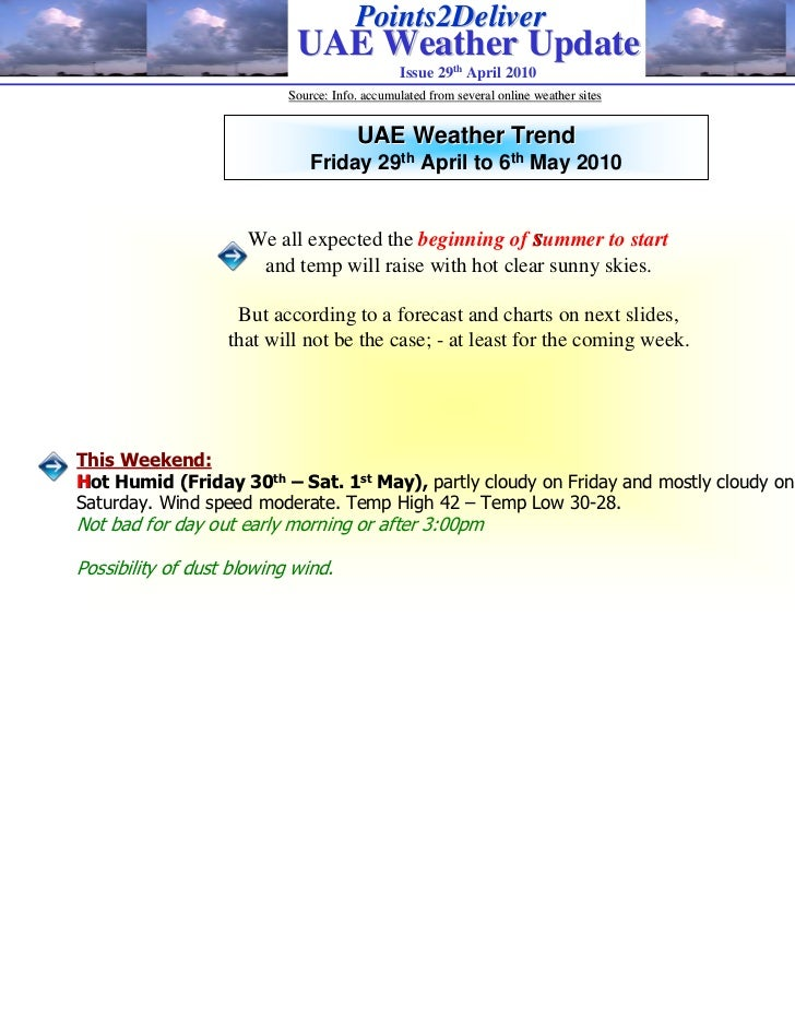 Points2Deliver                            UAE Weather Update                                               Issue 29th Apri...