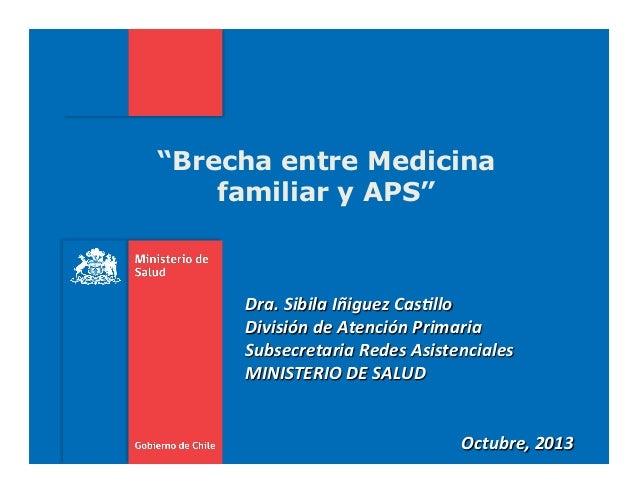 """""""Brecha entre Medicina familiar y APS""""    Dra.  Sibila  Iñiguez  Cas2llo   División  de  Atención  Primari..."""