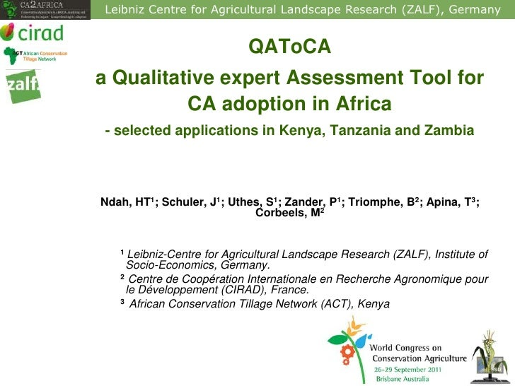 Leibniz Centre for Agricultural Landscape Research (ZALF), Germany                            QAToCAa Qualitative expert A...