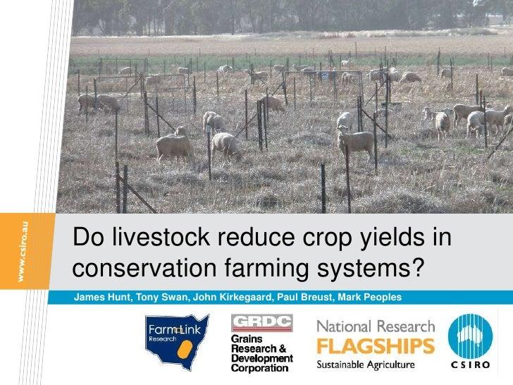 Do livestock reduce crop yields inconservation farming systems?James Hunt, Tony Swan, John Kirkegaard, Paul Breust, Mark P...