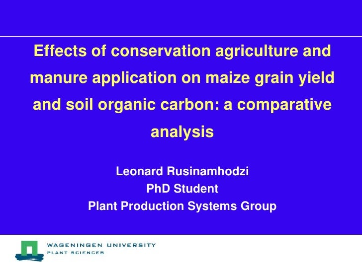 Effects of conservation agriculture andmanure application on maize grain yieldand soil organic carbon: a comparative      ...