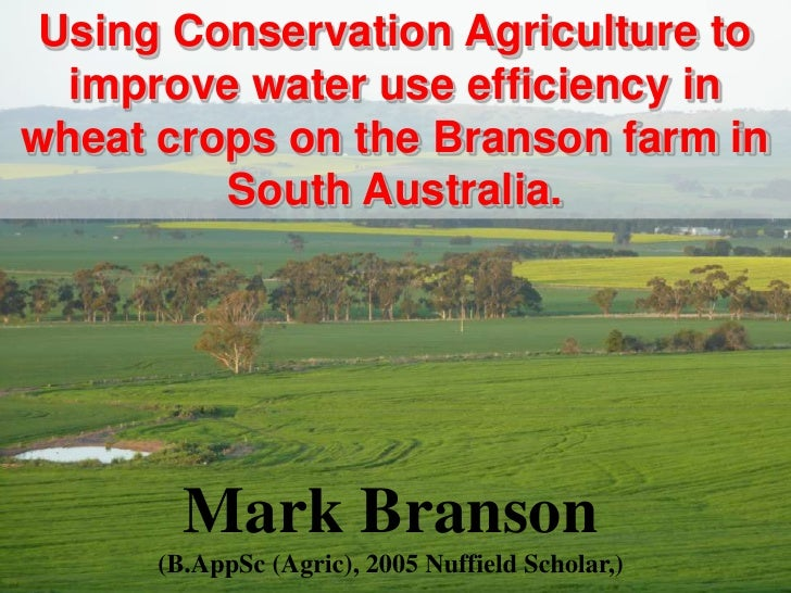 Using Conservation Agriculture to  improve water use efficiency inwheat crops on the Branson farm in         South Austral...