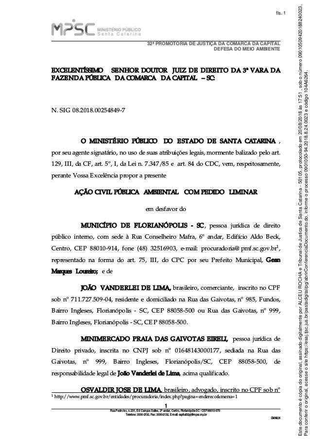32ª PROMOTORIA DE JUSTIÇA DA COMARCA DA CAPITAL DEFESA DO MEIO AMBIENTE 1  Rua Pedro Ivo ... db6fb8cb54197