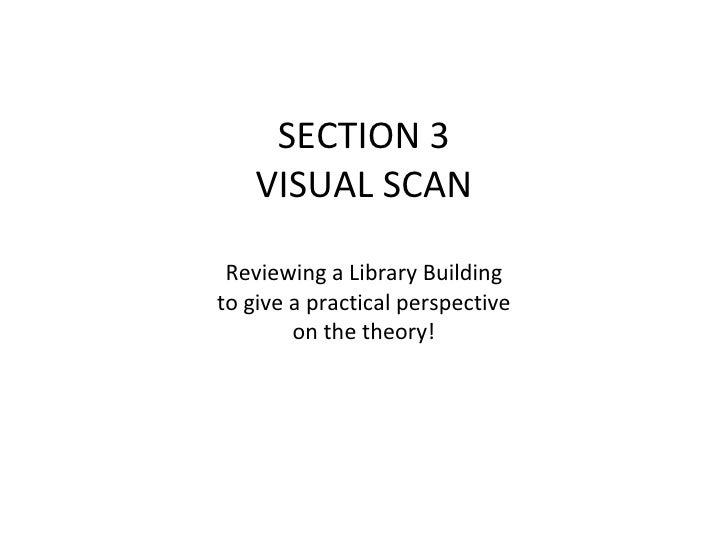 SECTION 3 VISUAL SCAN Reviewing a Library Building to give a practical perspective on the theory!