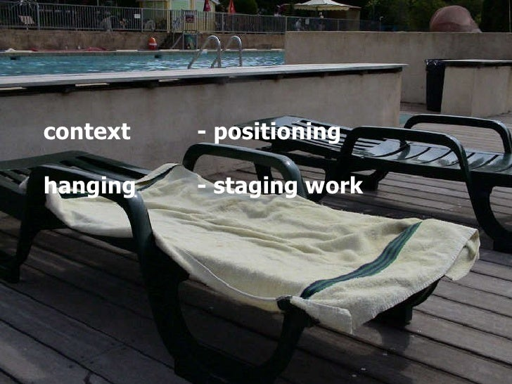 context - positioning hanging  - staging work