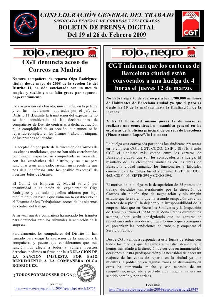 CONFEDERACIÓN GENERAL DEL TRABAJO                           SINDICATO FEDERAL DE CORREOS Y TELEGRAFOS                     ...