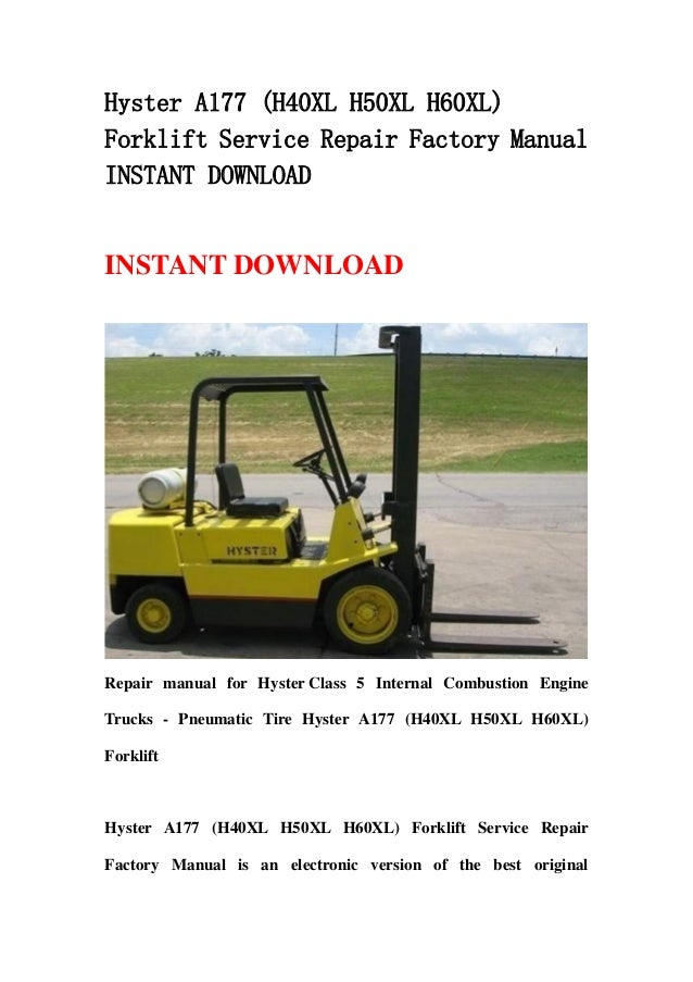 Hyster h 60 H Manual on