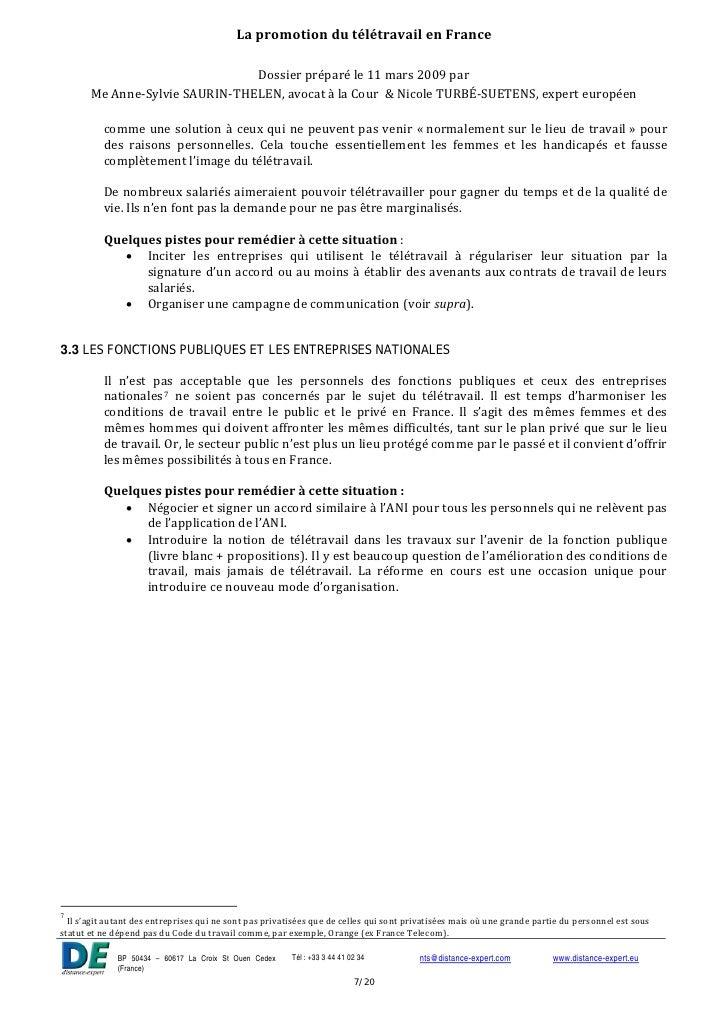 la promotion du t u00e9l u00e9travail en france