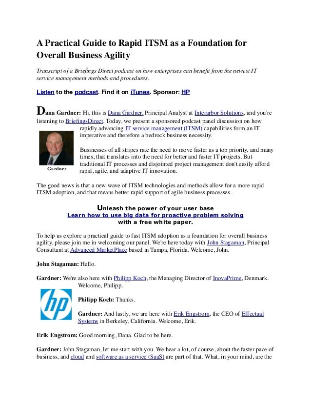 A Practical Guide to Rapid ITSM as a Foundation for  Overall Business Agility  Transcript of a Briefings Direct podcast on...