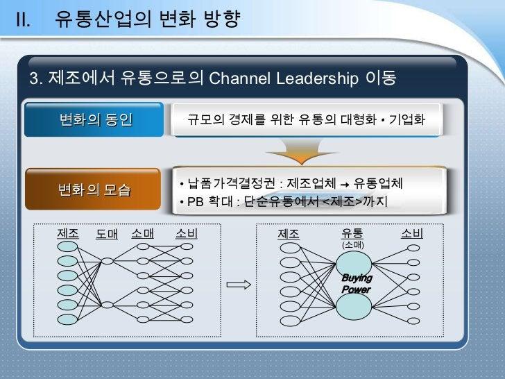 II.   유통산업의 변화 방향  3. 제조에서 유통으로의 Channel Leadership 이동  3.제조에서 유통으로의 CHANNEL LEADERSHIP 이동      변화의 동인          규모의 경제를 위한...