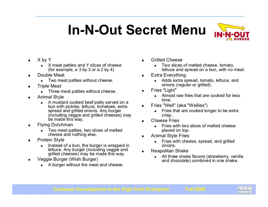 In N Out Menu >> In-N-Out Secret Menu ! X