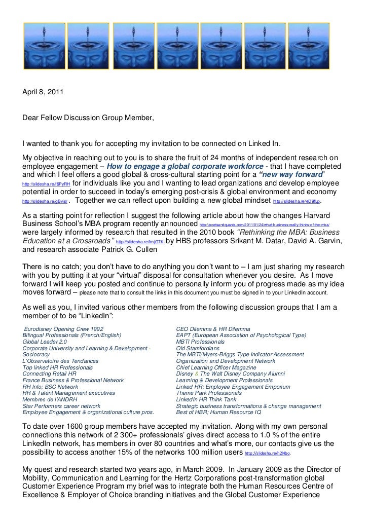 <br />April 8, 2011<br />Dear Fellow Discussion Group Member,<br />I wanted to thank you for accepting ...