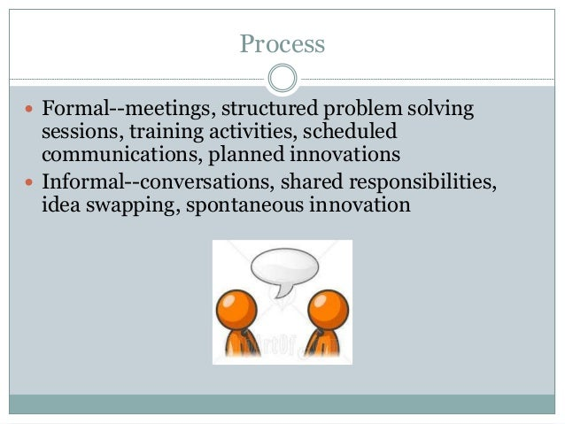 Process  Formal--meetings, structured problem solving sessions, training activities, scheduled communications, planned in...