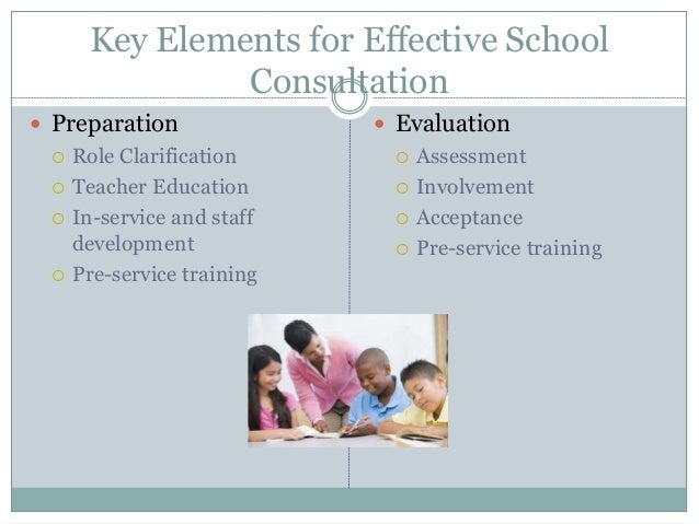 Key Elements for Effective School Consultation  Preparation  Role Clarification  Teacher Education  In-service and sta...