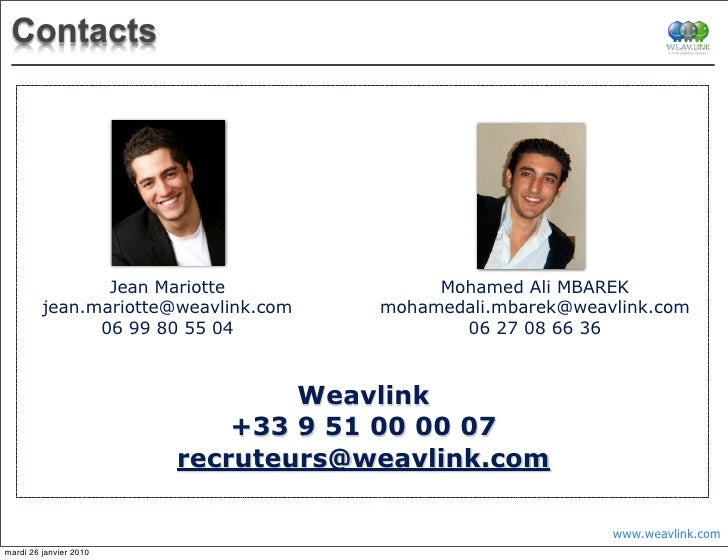 Contacts                     Jean Mariotte              Mohamed Ali MBAREK          jean.mariotte@weavlink.com   mohamedal...