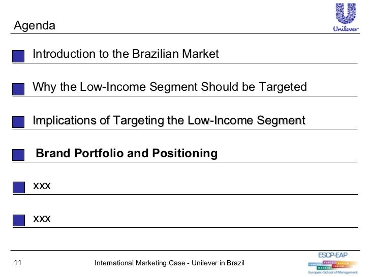 unilever brazil marketing strategy for low income Tutorials for question - aalto executive mba cohort 15 - brand management - case study: unilever in brazil 1997-2007: marketing strategies for low-income consumers categorized under business and general business.
