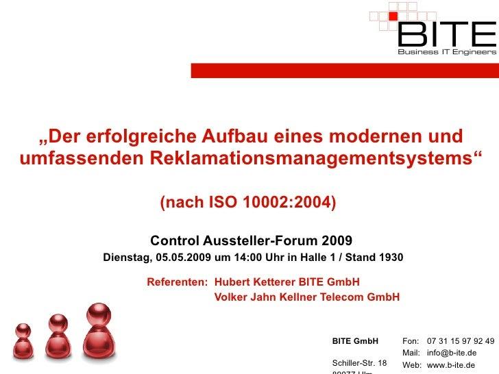 """"""" Der erfolgreiche Aufbau eines modernen und umfassenden Reklamationsmanagementsystems""""  (nach ISO 10002:2004)   Control A..."""