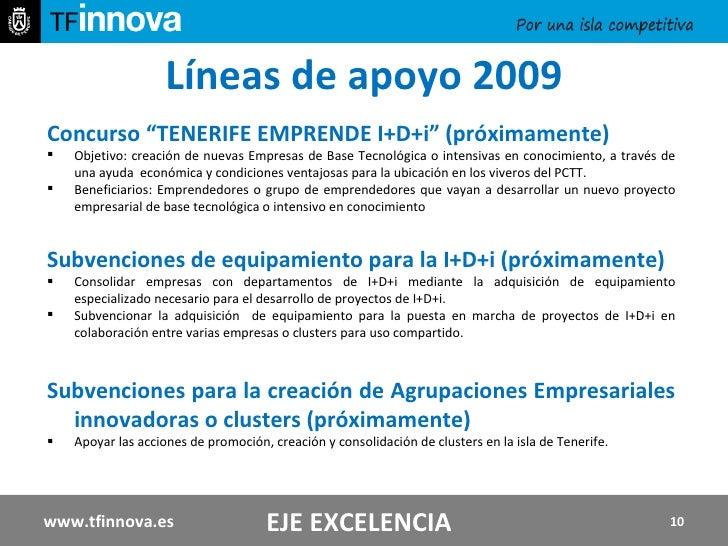 "Líneas de apoyo 2009 <ul><li>Concurso ""TENERIFE EMPRENDE I+D+i"" (próximamente)  </li></ul><ul><li>Objetivo: creación de nu..."