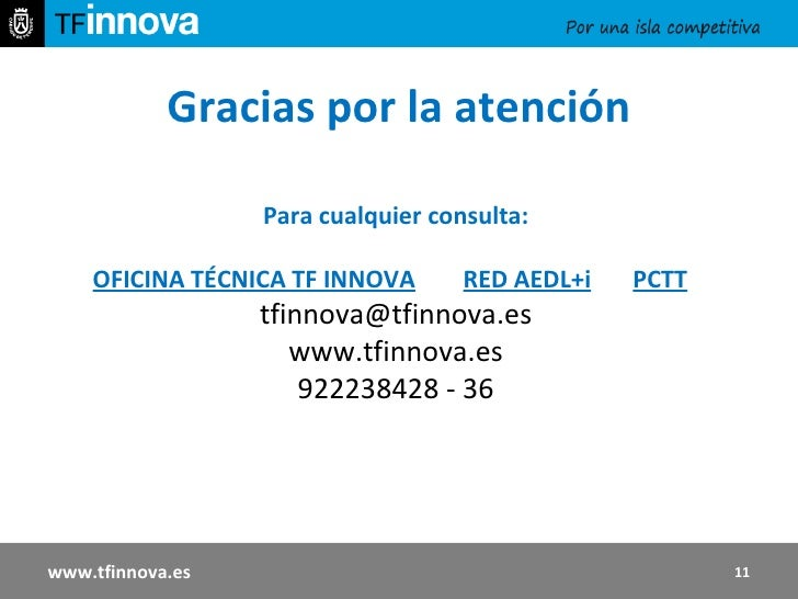 Gracias por la atención Para cualquier consulta: OFICINA TÉCNICA TF INNOVA   RED AEDL+i   PCTT [email_address] www.tfinnov...