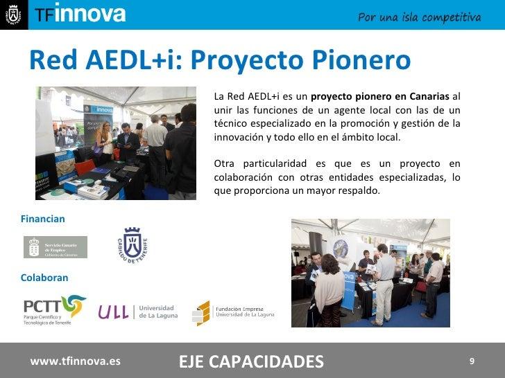 Red AEDL+i: Proyecto Pionero  EJE CAPACIDADES La Red AEDL+i es un  proyecto pionero en Canarias  al unir las funciones de ...