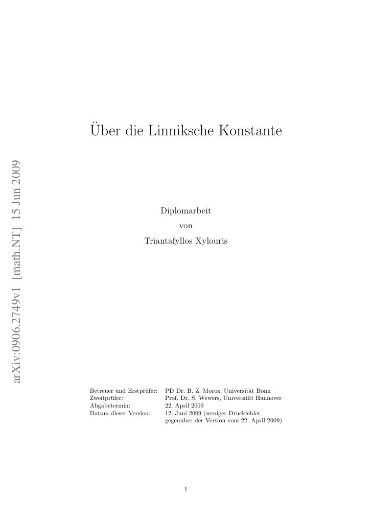 ¨                                           Uber die Linniksche Konstante arXiv:0906.2749v1 [math.NT] 15 Jun 2009         ...