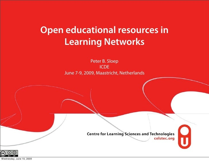 Open educational resources in                                Learning Networks                                            ...