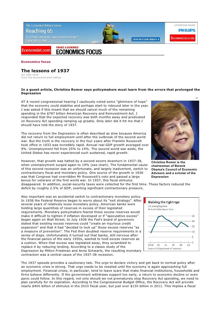 Economics focus  The lessons of 1937 Jun 18th 2009 From The Economist print edition     In a guest article, Christina Rome...