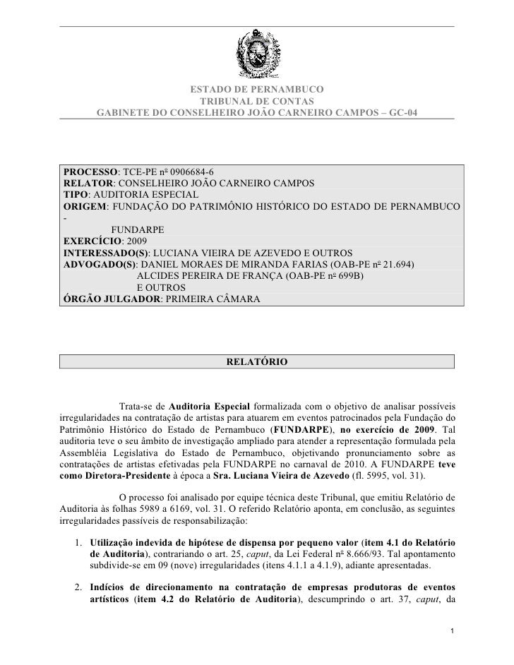 ESTADO DE PERNAMBUCO                          TRIBUNAL DE CONTAS         GABINETE DO CONSELHEIRO JOÃO CARNEIRO CAMPOS – GC...