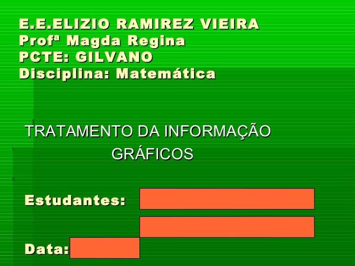 E.E.ELIZIO RAMIREZ VIEIRA Profª Magda Regina PCTE: GILVANO Disciplina: Matemática TRATAMENTO DA INFORMAÇÃO GRÁFICOS Estuda...